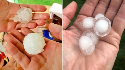 Residents across the city rushed out to collect the biggest hail stones they could find, flooding social media with shots of the stones in their hands.