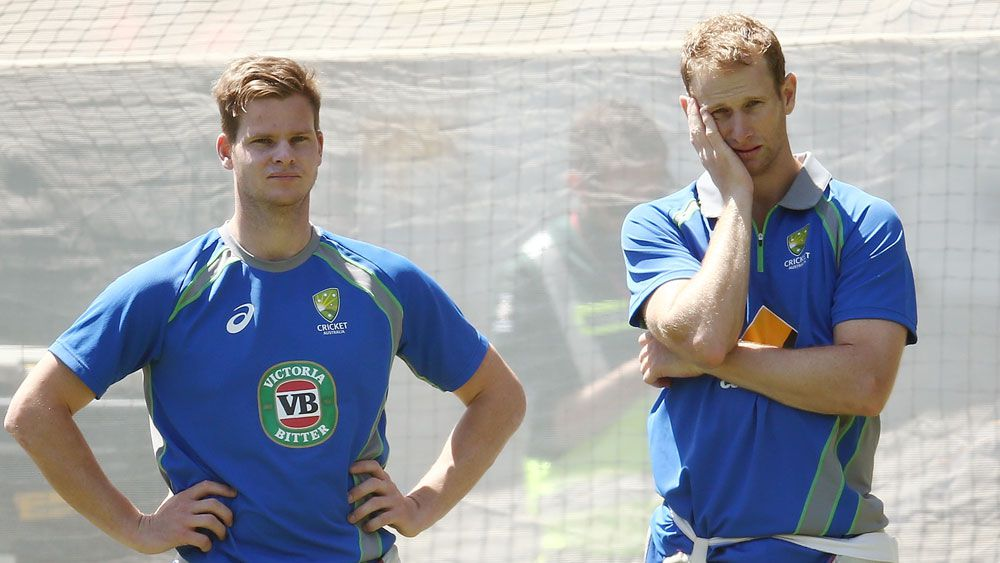 Steve Smith rattled by net-bowler blow
