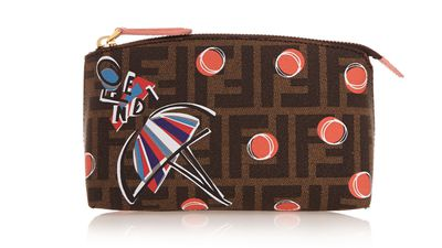 "<a href=""http://www.net-a-porter.com/product/500810/Fendi/printed-textured-leather-cosmetics-case"">Printed Textured-Leather Cosmetic Case, $310, Fendi</a>"