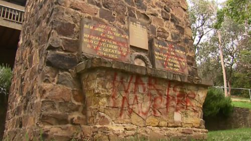 Melbourne memorial defaced with 'War is Murder' message on eve of Anzac Day