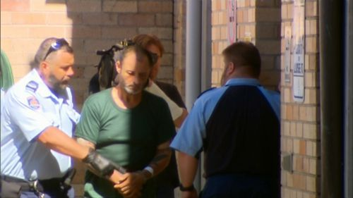 Anthony Sampieri is led to Maroubra Police Station today.