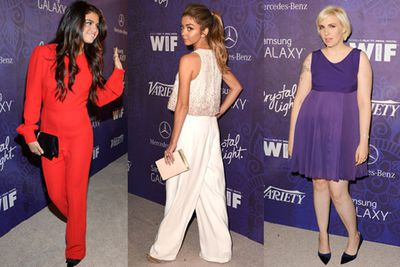 It's all about bold, block colours this awards season, with our favourite ladies of television stepping out to preview their red carpet looks at various pre-Emmys parties.  <br/><br/>Selena Gomez in a bright red jumpsuit? Check! Sarah Hyland looking as cute as ever? Yep! Lena Dunham rocking a fierce platinum blonde hair do? We got it. <br/><br/>Click though to check out more red carpet looks.<br/>