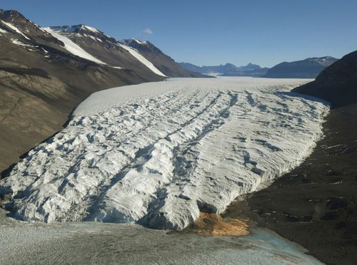 This file photo shows the Taylor Glacier near McMurdo Station, Antarctica.