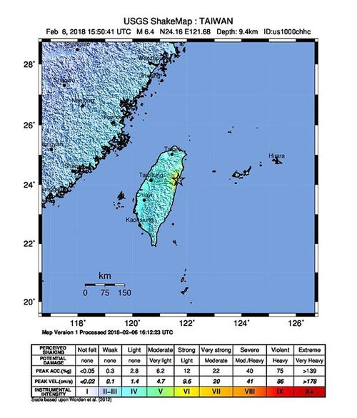 In a handout image from the USGS, the quake can be seen striking about 21km off the coast of Hualien. (AAP)