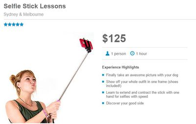 "The website 'Red Balloon' has listed several interesting experiences for customers this April fools' day with one ad offering a one-hour selfie stick lesson so you can ""finally take an awesome picture with your dog""."