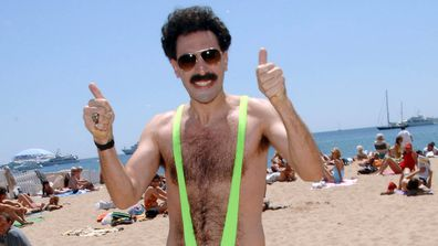 The mankini, popularised by Sacha Baron Cohen's character Borat, has been banned from a Cornish town. (Getty)