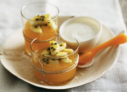 Passionfruit jellies with banana and honey yoghurt