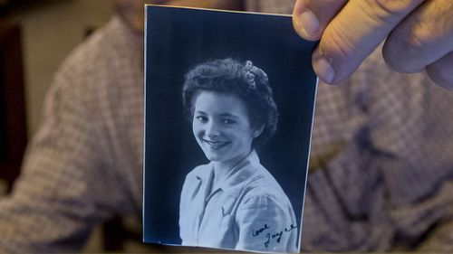 A photo of Joyce taken during WWII. The caption reads 'Love Joyce'. (AAP)