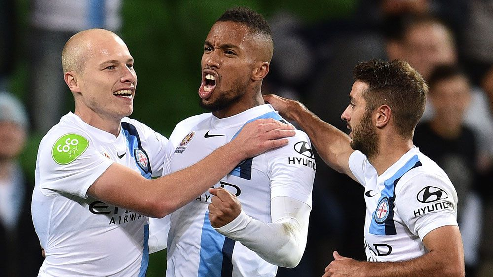 City top A-League with 3-1 win over Roar