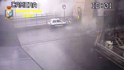 Moment Genoa bridge collapsed caught on CCTV