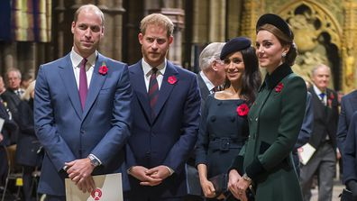 Prince Harry and Prince William with Kate and Meghan