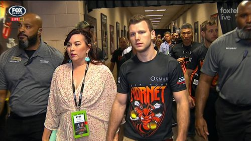 The pair put on a united front as they entered the MGM Grand. (Fox Sport)