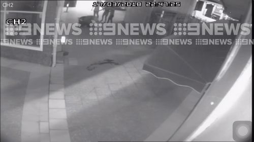 The pair wrestle on the ground as the woman attempts to break up the brutal fight. (9NEWS)