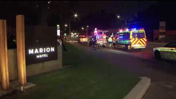 Emergency services at the scene in the carpark near the Marion Hotel.