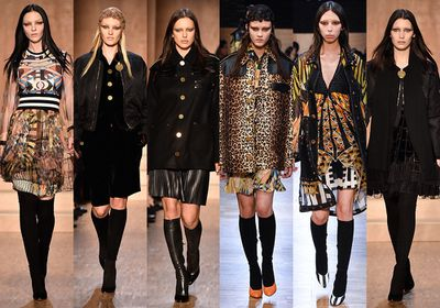 Riccardo Tisci's favourite models Mariacarla Boscono, Candice Swanepoel, Irina Shayk, Greta Varlese and Issa Lish took to the runway presenting a collection filled with psychedelic prints, boho pieces and Egyptian iconography. The collection also marked Bella Hadid's first Fall 2016 Paris Fashion Week appearance. The top models were almost unrecognisable with bleached eyebrows (a Givenchy calling card) and mullet-esque hair.