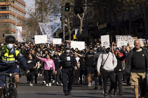 A man who threw pepper at police during an anti-lockdown protest in Sydney last month has avoided being sent to jail.