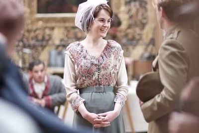 Michelle Dockery (Lady Mary Crawley) has a laugh on-set.