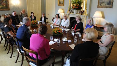 The Duchess of Cornwall attended a Round Table on Domestic Violence while in Adelaide with Australian of the Year Rosie Batty. (AAP)