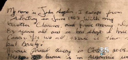 A fragment of the letter purpotedly written by John Anglin and, above, the letter in whole. Credit: KPIX 5