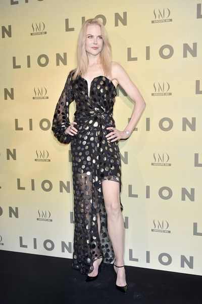 <p><strong>Nicole Kidman 4</strong></p> <p>An embellished approach at the Lion Paris premiere in 2017 wearing Saint Laurent.</p>