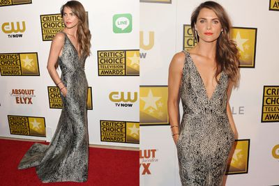 Taking the plunge! Keri Russell's animal-print high-fash frock sure set our pulses racing...