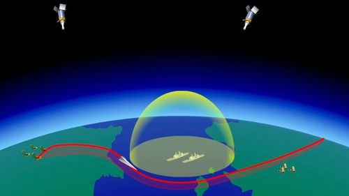 A computer simulation shows the Avangard hypersonic vehicle maneuvering to bypass missile defences en route to target.