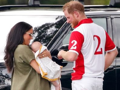 Meghan and Harry with their son Archie at the polo
