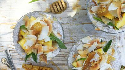 "Recipe:<a href=""http://kitchen.nine.com.au/2017/01/25/17/33/pina-colada-chia-pudding"" target=""_top""> Piña colada chia pudding</a>"