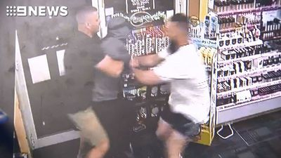 The moment gym buddies tackle armed chemist robber