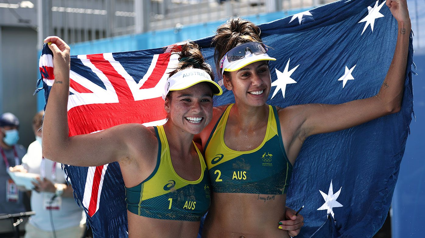 Mariafe Artacho del Solar #1 of Team Australia and Taliqua Clancy #2 celebrate after defeating Team Latvia during the Women's Semifinal beach volleyball on day thirteen of the Tokyo 2020 Olympic Games at Shiokaze Park on August 05, 2021 in Tokyo, Japan. (Photo by Maja Hitij/Getty Images)