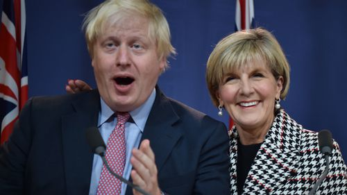 Britain's Foreign Secretary Boris Johnson (L) and Australia's Foreign Minister Julie Bishop attend a press conference in Sydney on July 27, 2017. Britain plans to play a bigger role in Asia after Brexit, including deploying aircraft carriers to the region, Johnson said on July 27. (AFP)
