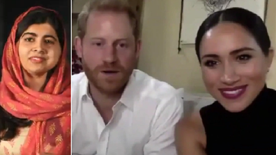 Harry and Meghan talk to Malala about female education via Zoom.