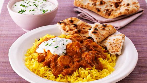 Indian chicken curry with basmati rice