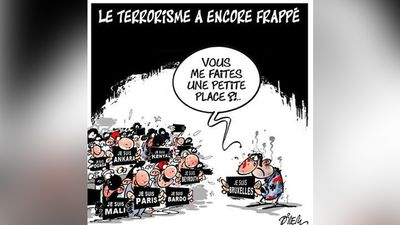 "<p>Terrorism has struck again.</p><p>""Can you make some room for me?""</p>By Ali Dilem."