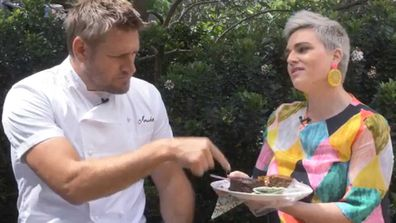 Curtis Stone and Jane de Graaff try the three-ingredient Christmas cake viral trend