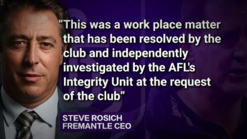 "Mr Rosich said the ""work place matter"" had been resolved. (9NEWS)"