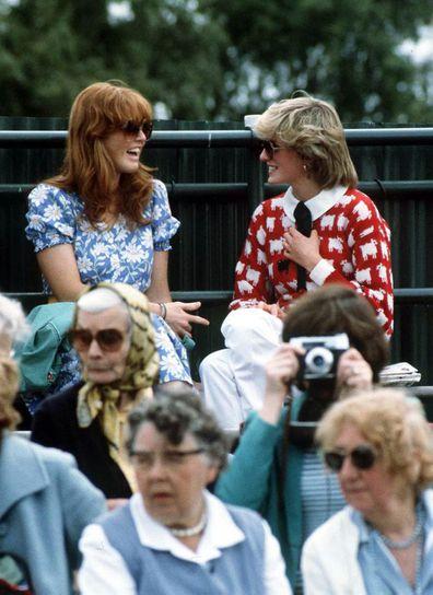 Princess Diana and Sarah Ferguson at the polo club in 1983.