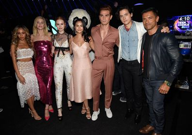 Riverdale co-stars, Vanessa Morgan, Lili Reinhart, Madelaine Petsch, Camila Mendes, KJ Apa, Cole Sprouse and Mark Consuelos, Teen Choice Awards 2018