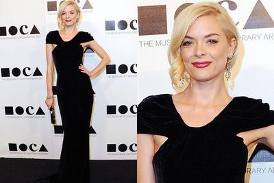 The blonde bombshell in black.