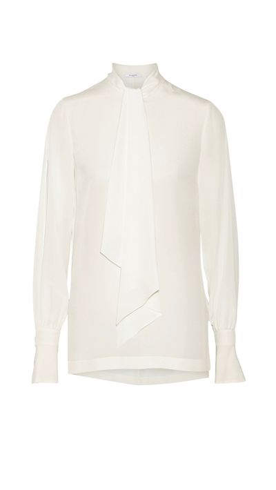 "<p><a href=""http://www.net-a-porter.com/product/512205/Givenchy/pussy-bow-blouse-in-ivory-silk-crepe-de-chine"" target=""_blank"">Pussy-Bow Blouse in Ivory Silk Crepe De Chine, $1,950, Givenchy</a></p>"