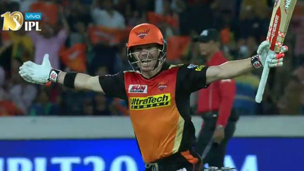 Australia's David Warner bludgeons century for Sunrisers Hyderabad in big IPL win over Kolkata Knight Riders