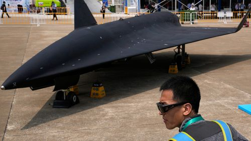 Chinese People's Liberation Army Air Force displays its high-altitude supersonic drone. the WZ-8