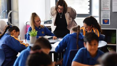 New South Wales Minister for Education Sarah Mitchell chats with students in Merrylands.