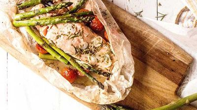 "Recipe:&nbsp;<a href=""http://kitchen.nine.com.au/2017/09/01/07/46/lemon-baked-salmon-with-spring-asparagus"" target=""_top"">Lemon baked salmon with spring asparagus</a>"