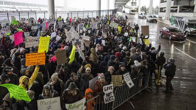 Protesters at Detroit airport. (AAP)