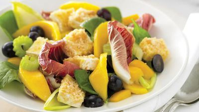 """<a href=""""http://kitchen.nine.com.au/2016/05/13/12/13/brie-and-mango-salad"""" target=""""_top"""">Brie and mango salad</a><br /> <br /> <a href=""""http://kitchen.nine.com.au/2016/06/06/22/09/savoury-fruit-salads-to-lift-lacklustre-lunches"""" target=""""_top"""">More savoury fruit salads</a><br /> <br />"""