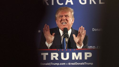 Donald Trump at the campaign event in New Hampshire. (AAP)