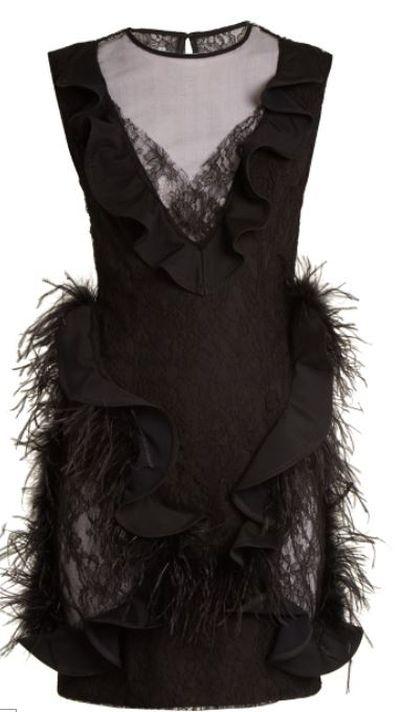 "<a href=""https://www.matchesfashion.com/au/products/Emilio-De-La-Morena-Feather-trimmed-sleeveless-lace-dress-1175288"" target=""_blank"">Emilio De La Morena Feather-Trimmed Sleeveless Lace Dress, $1673.</a>"