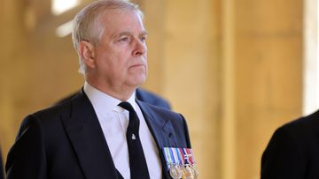 Prince Andrew at Prince Philip's funeral in Windsor on April 17