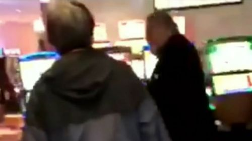 A patron filmed as the man went on his poker machine rampage. (9NEWS)